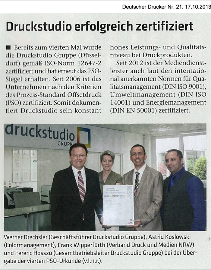 Druckstudio Gruppe zum vierten Mal erfolgreich PSO-zertifiziert