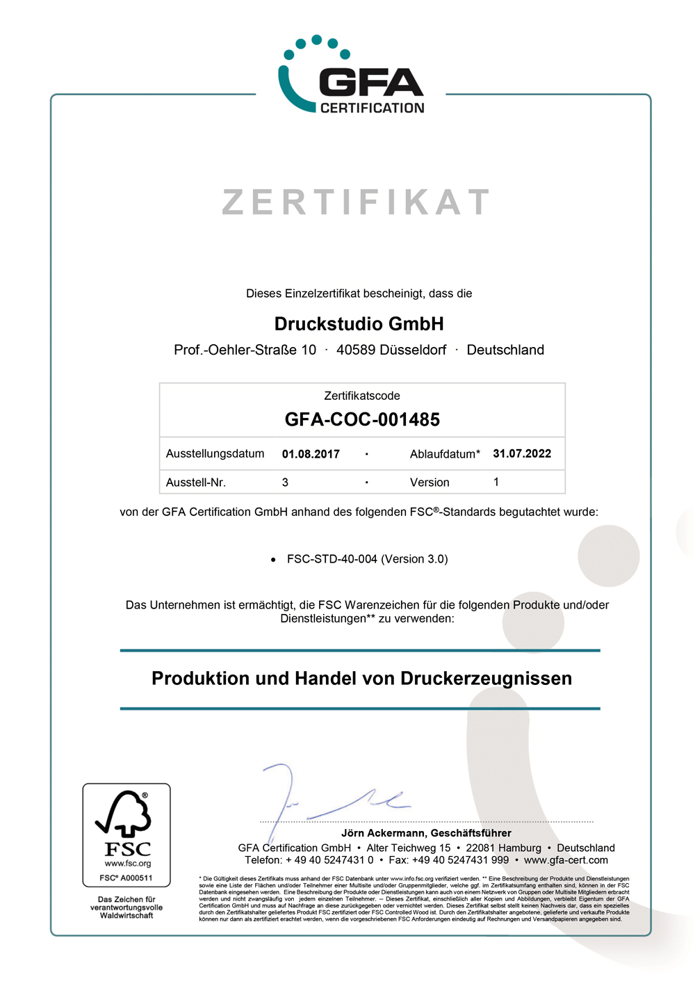 FSC Zertifikat der FSC zertifizierten Druckerei Düsseldorf