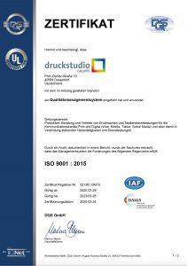 Zertifizierung nach DIN ISO 9001 (Qualitäts- und Umweltmanagementsystem)