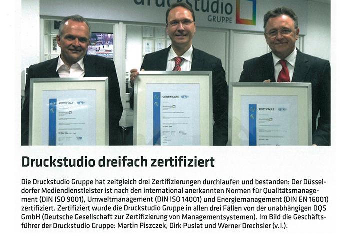 Druckstudio Grueppe dreifach zertifiziert