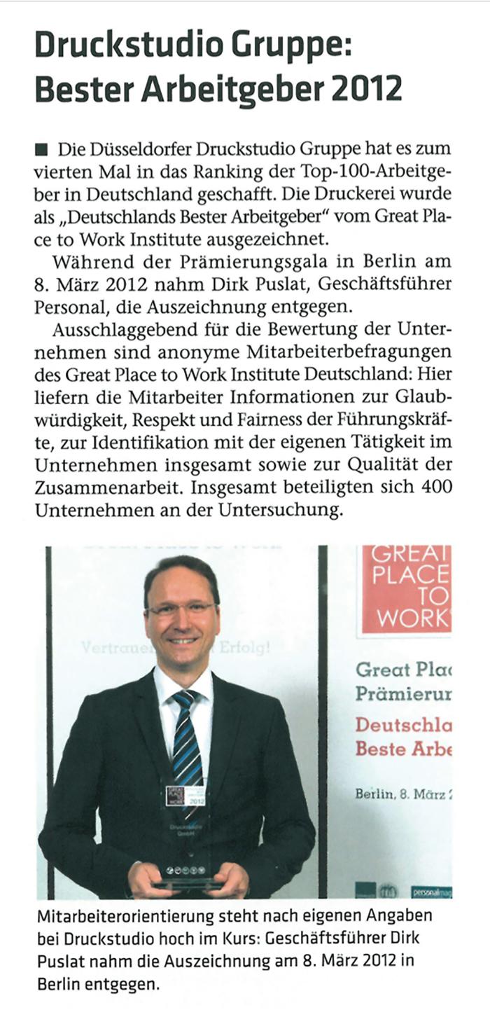 Druckstudio Gruppe Bester Arbeitgeber 2012