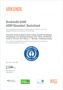 Zertifikat - Blauer Engel