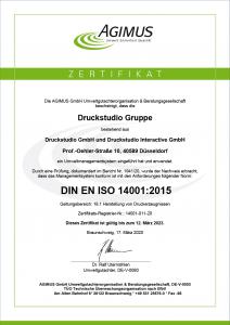 Zertifikat - DIN EN ISO 14001:2015 - 2020