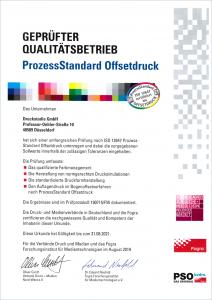 Zertifikat nach DIN ISO 12647 (ProzessStandard)