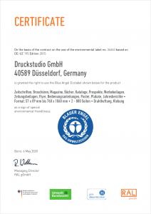 Zertifikat Blauer Engel - Englisch